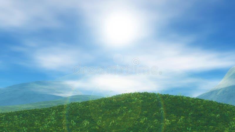 paisaje herboso 3D con las nubes bajas stock de ilustración