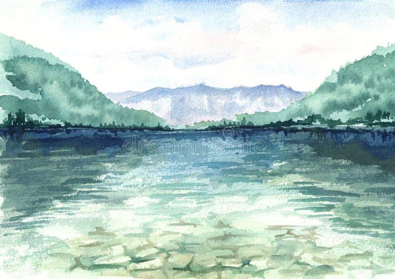 Paisaje hermoso con un lago y las montañas reflejados en el agua Ejemplo dibujado mano de la acuarela ilustración del vector