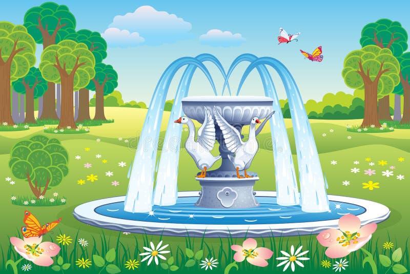 Paisaje hermoso con una fuente en el parque stock de ilustración