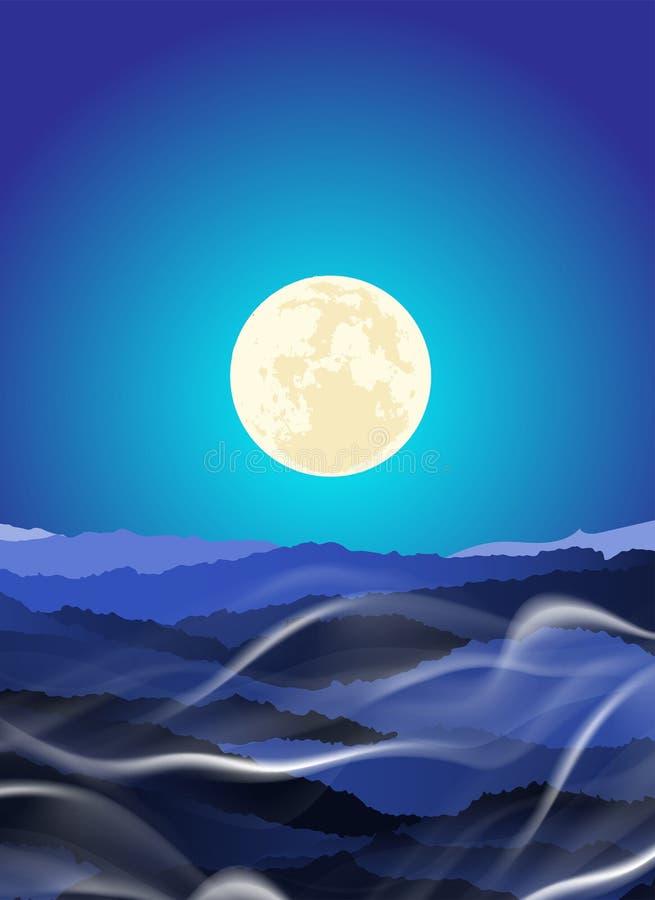 Paisaje hermoso de la capa de la montaña en rayo del claro de luna de la noche y niebla del invierno ilustración del vector