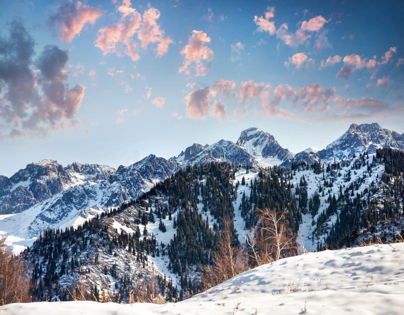 Paisaje hermoso de la montaña del invierno imágenes de archivo libres de regalías
