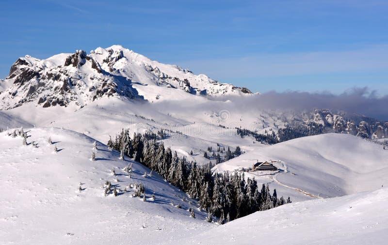 Paisaje hermoso de la montaña del invierno foto de archivo libre de regalías