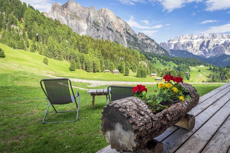 Paisaje hermoso de la montaña de las dolomías Santa Cristina Valgardena Italia fotografía de archivo