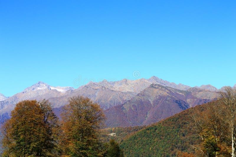 Paisaje hermoso de los Mountain View de Rosa Khutor imagen de archivo
