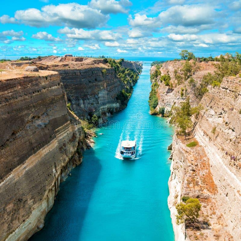 Paisaje hermoso del canal de Corinto foto de archivo libre de regalías
