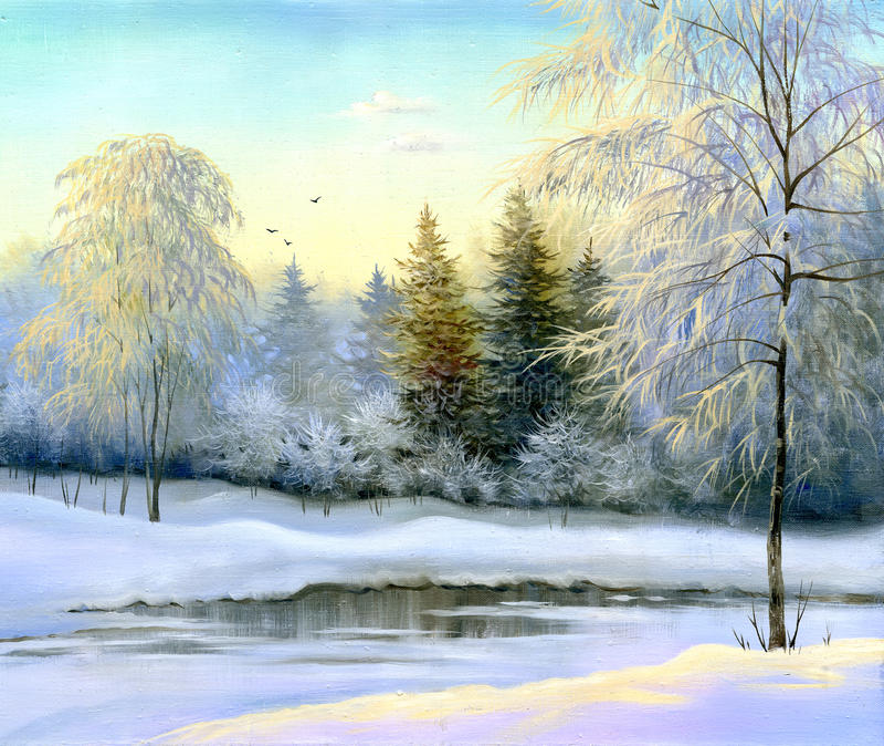 Paisaje hermoso del invierno stock de ilustración
