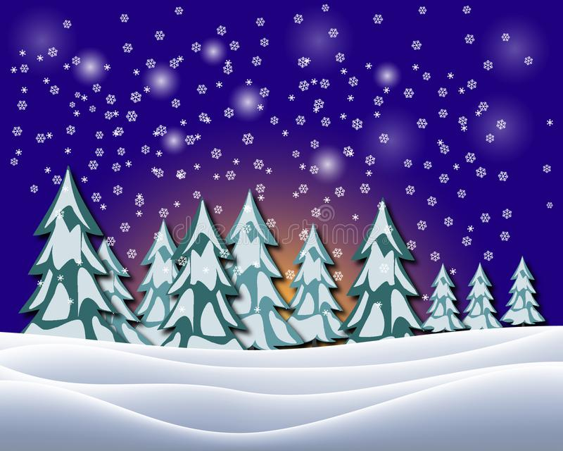 Paisaje hermoso del invierno con el cielo nocturno Ilustración del vector ilustración del vector