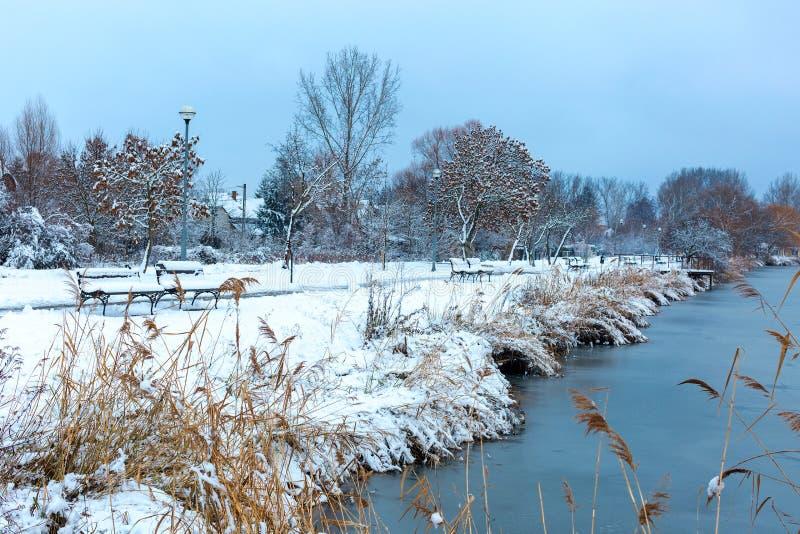 Paisaje hermoso del invierno con el lago congelado, los árboles nevados y los bancos en fondo del cielo azul fotos de archivo