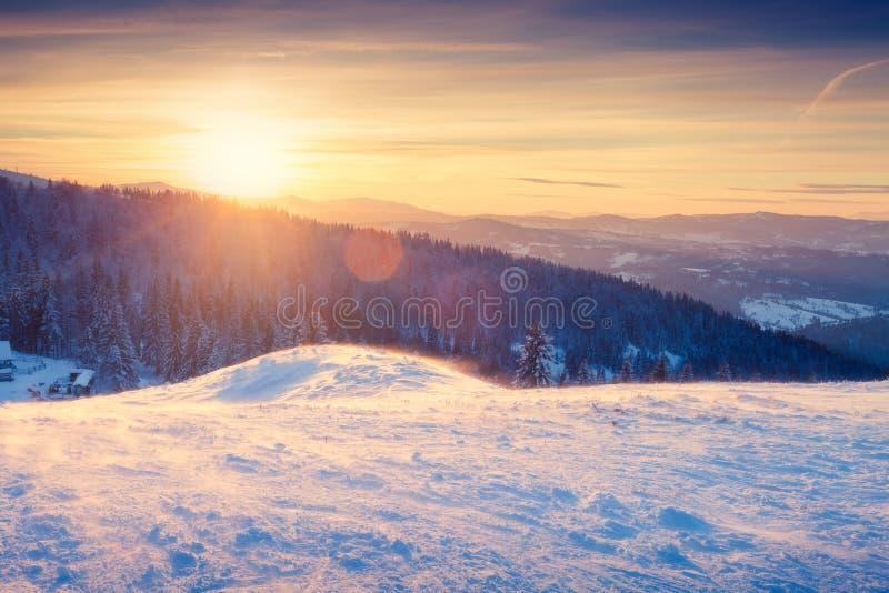 Paisaje hermoso del invierno en la puesta del sol fotografía de archivo