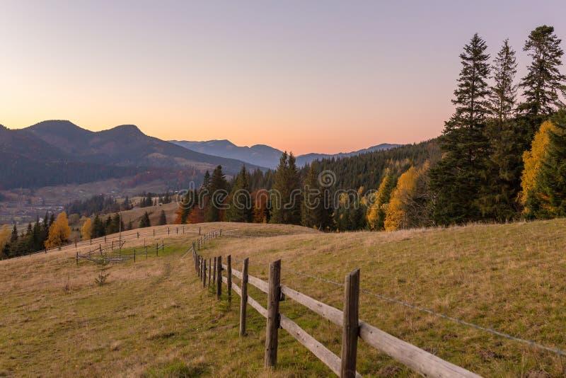 Paisaje hermoso del otoño con los árboles coloridos en la puesta del sol en montañas cárpatas, Ucrania imagenes de archivo