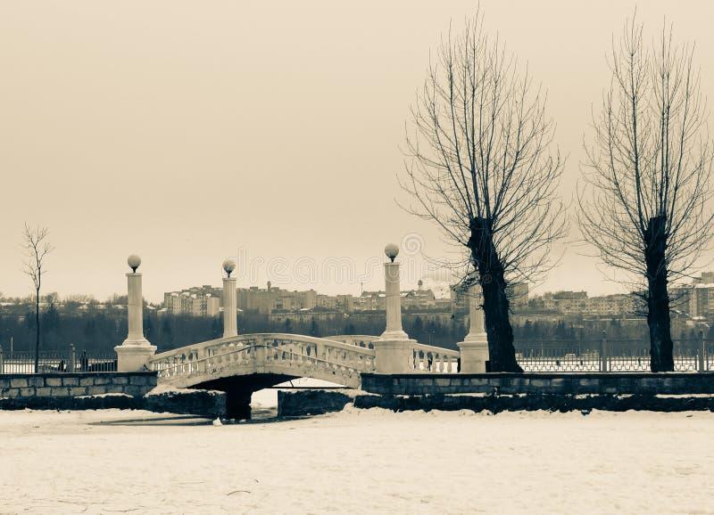 paisaje hermoso del puente en el fondo de las casas de la ciudad imágenes de archivo libres de regalías