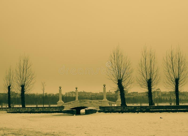 paisaje hermoso del puente en el fondo de las casas de la ciudad foto de archivo