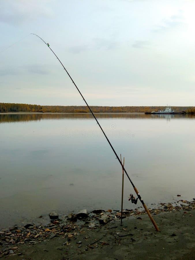 Paisaje hermoso del verano con la caña de pescar del río y del alimentador en la pesca rocosa de la orilla imagenes de archivo
