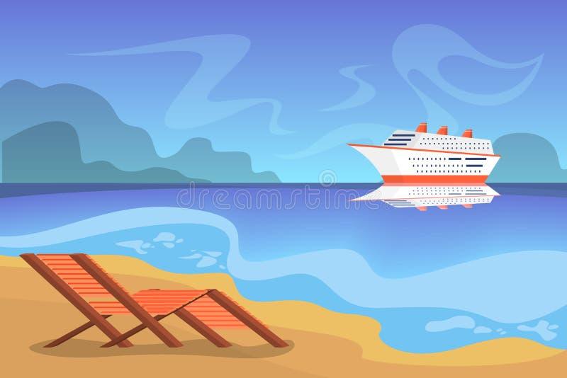 Paisaje hermoso del verano con un barco de cruceros libre illustration