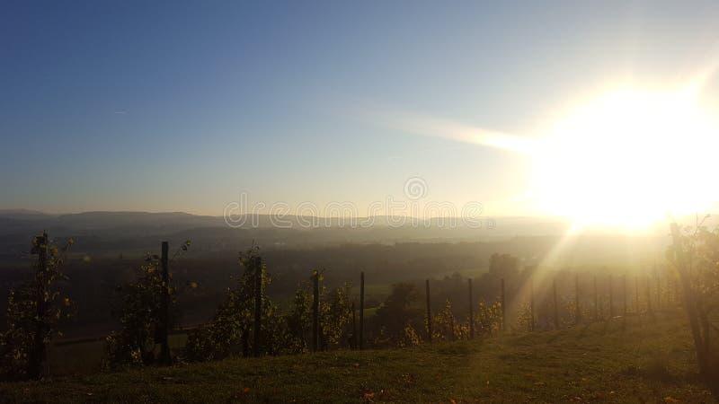 Paisaje hermoso en el sol de Suiza foto de archivo
