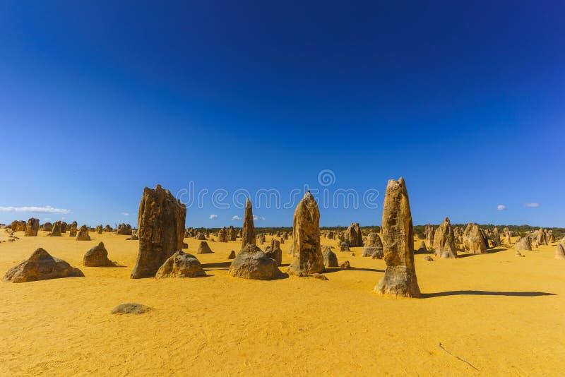 Paisaje hermoso en las formaciones de la piedra caliza de los pináculos dentro del parque nacional de Nambung, cerca de la ciudad fotografía de archivo libre de regalías
