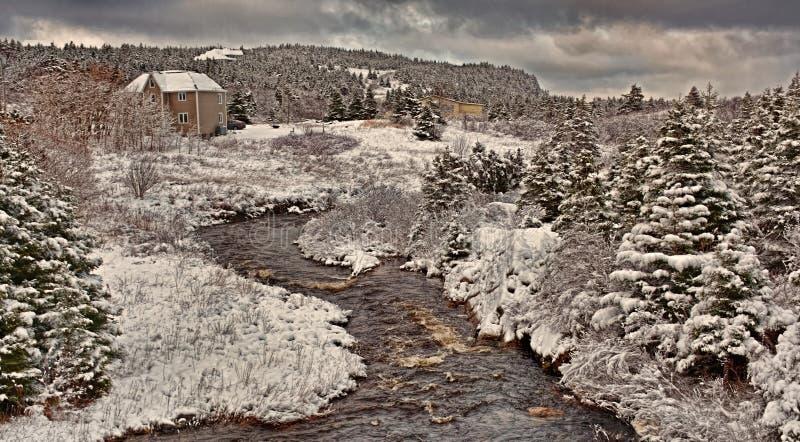 Paisaje hivernal en Avalon Peninsula en Terranova, Canadá fotografía de archivo
