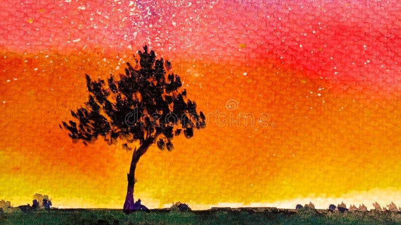 Paisaje horizontal de la acuarela del fondo de un árbol joven solo con follaje contra el cielo anaranjado de una puesta del sol o libre illustration