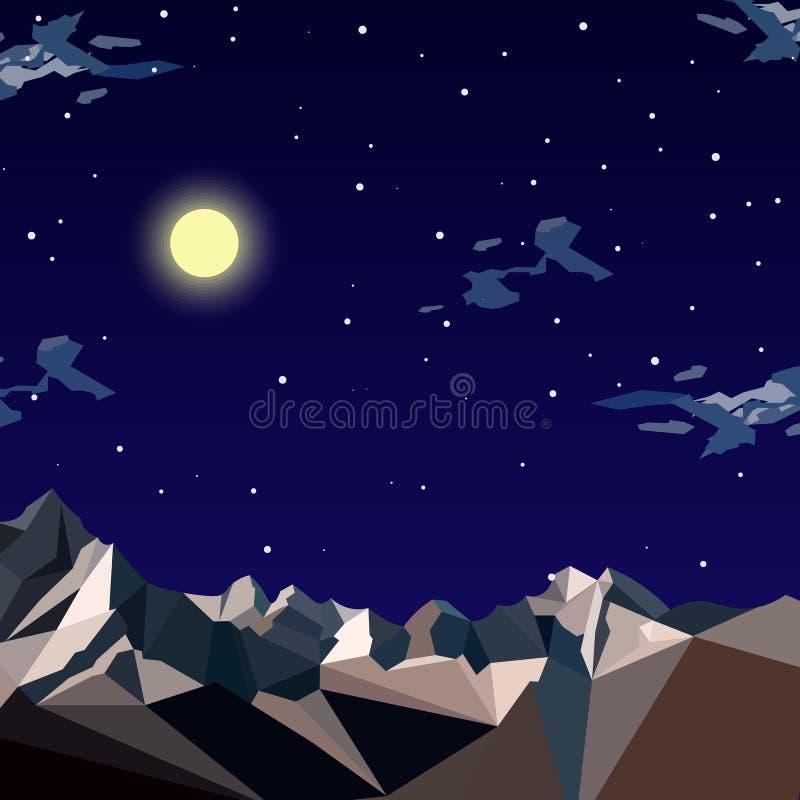 Paisaje horizontal de la montaña del fondo del ejemplo común del vector en estilo plano en la noche, estrellas, picos coronados d libre illustration