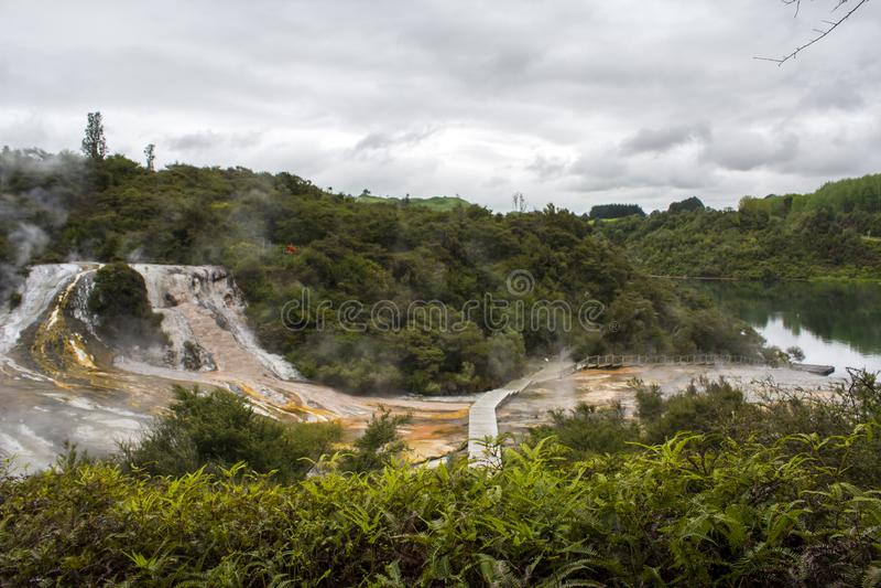 Paisaje imponente con las terrazas y el río geotérmicos de Waikato en Nueva Zelanda fotografía de archivo