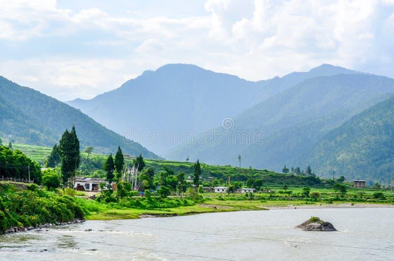 Paisaje imponente del valle de Punakha fotografía de archivo libre de regalías