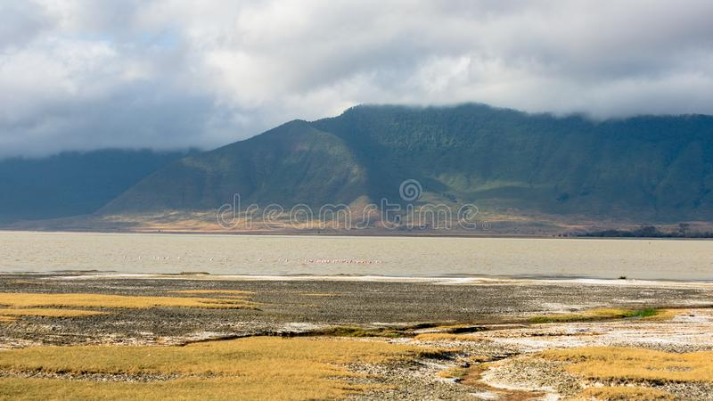 Paisaje impresionante con las montañas verdes de niebla en Ngorongoro, Tanzania fotografía de archivo libre de regalías