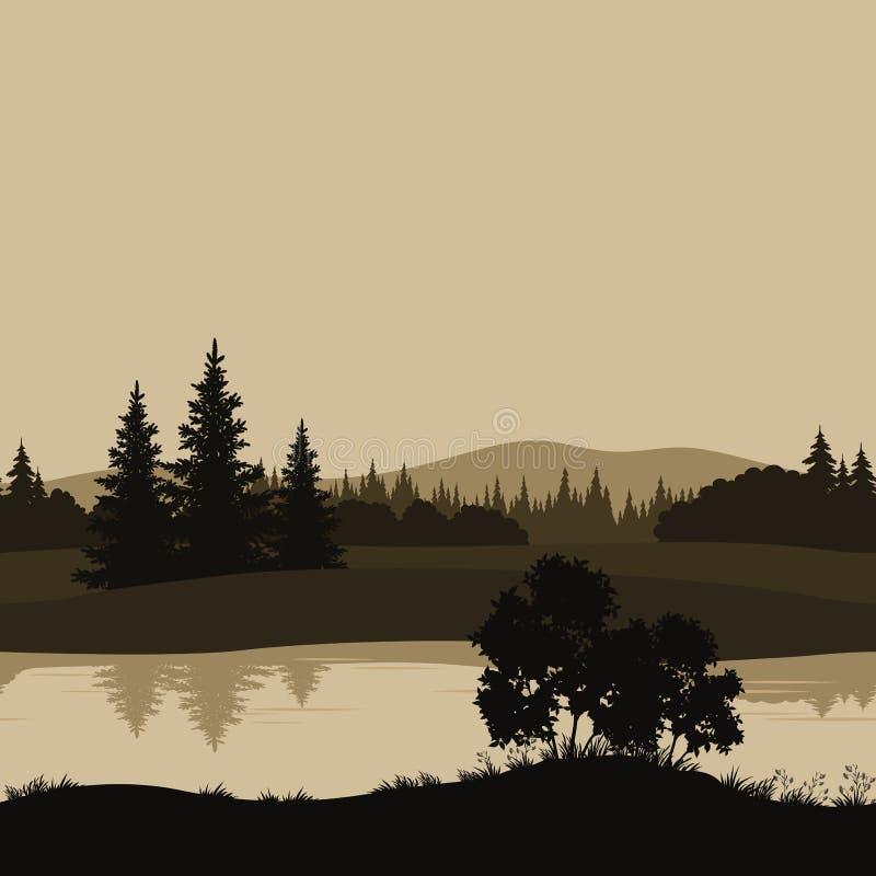 Paisaje inconsútil, árboles, río y montañas stock de ilustración
