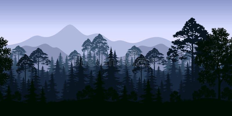 Paisaje inconsútil, árboles y montañas stock de ilustración