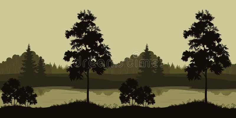 Paisaje inconsútil, árboles y río ilustración del vector