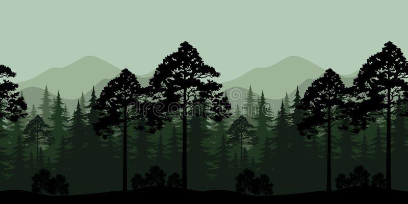 Paisaje inconsútil, árboles y siluetas de la montaña ilustración del vector
