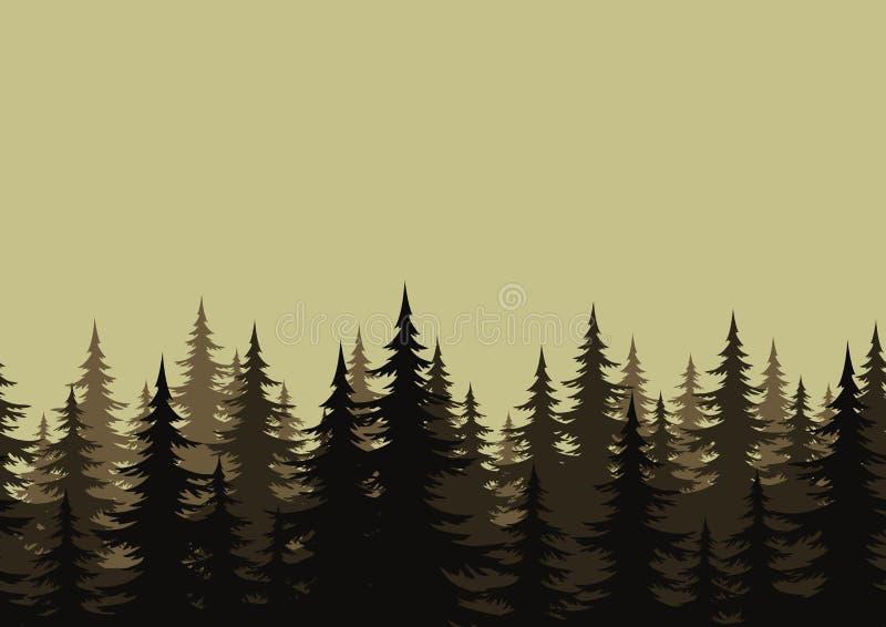 Paisaje inconsútil, bosque, siluetas stock de ilustración