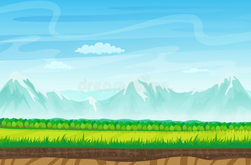 Paisaje inconsútil de la historieta con las rocas, las montañas y la hierba Paisaje para el juego libre illustration