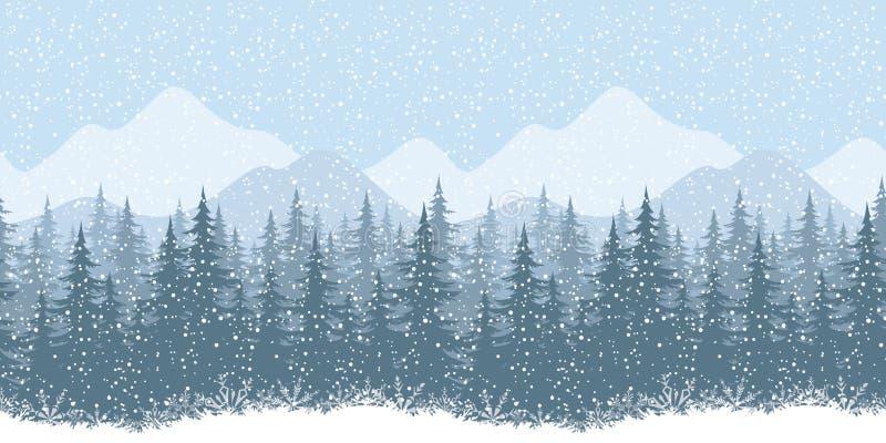 Paisaje inconsútil del invierno con los abetos ilustración del vector