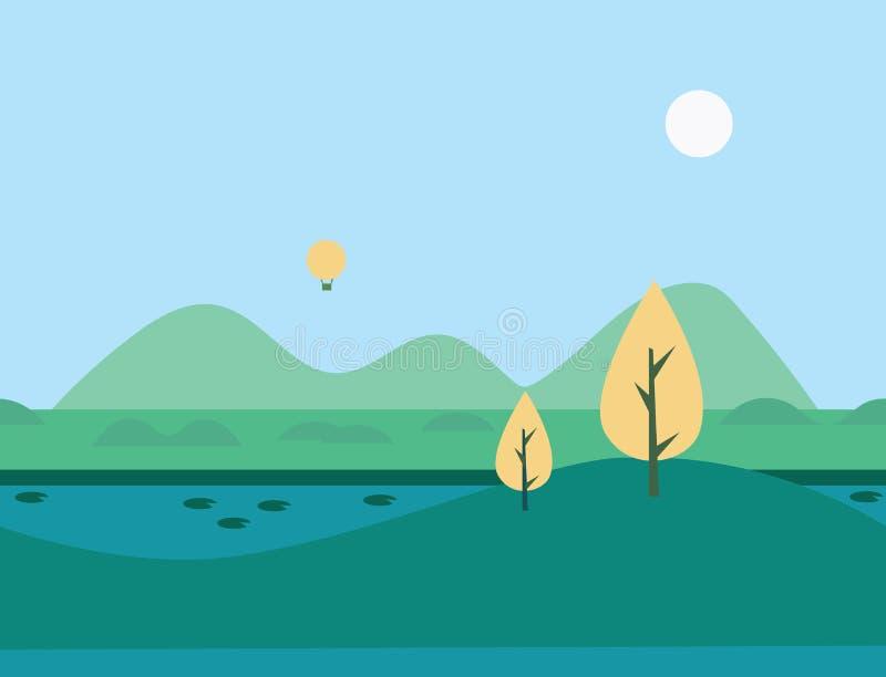 Paisaje inconsútil del río de la naturaleza de la historieta, ejemplo del vector ilustración del vector