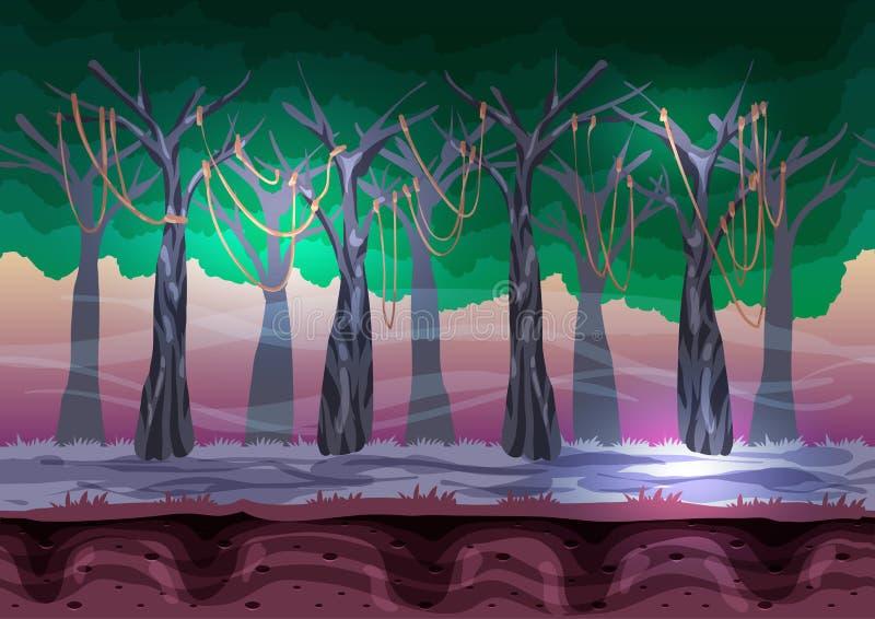 Paisaje inconsútil del vector de la historieta con las capas separadas para el juego y la animación stock de ilustración