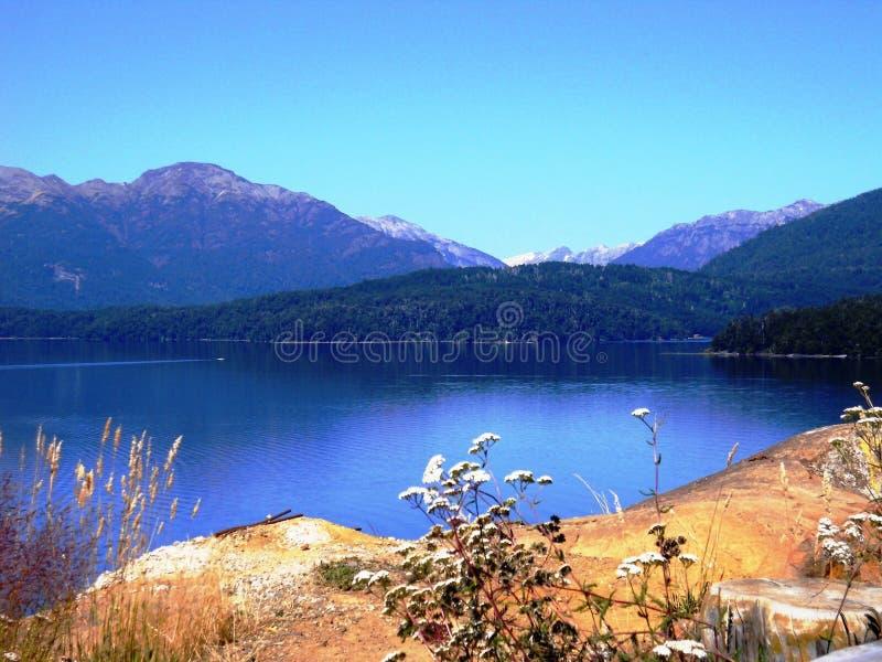 Paisaje increíble de montañas, de los lagos y de los árboles en Bariloche, la Argentina imagen de archivo libre de regalías