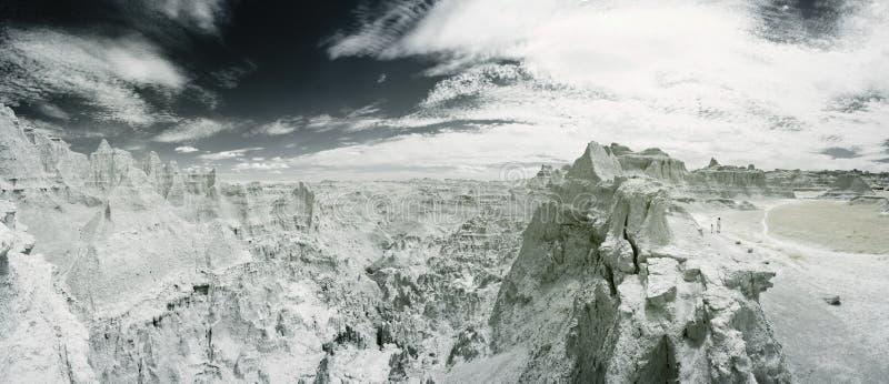 Paisaje infrarrojo de los badlands fotografía de archivo libre de regalías