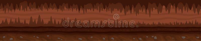 Paisaje interminable de Brown con la cueva oscura mística ilustración del vector