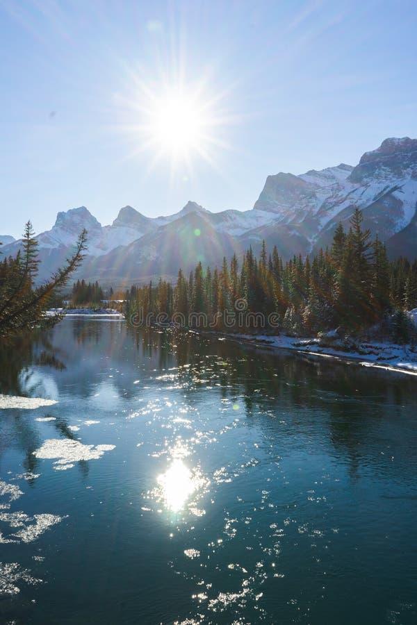 Paisaje invernal de Canadá, Canmore, Alberta fotografía de archivo libre de regalías