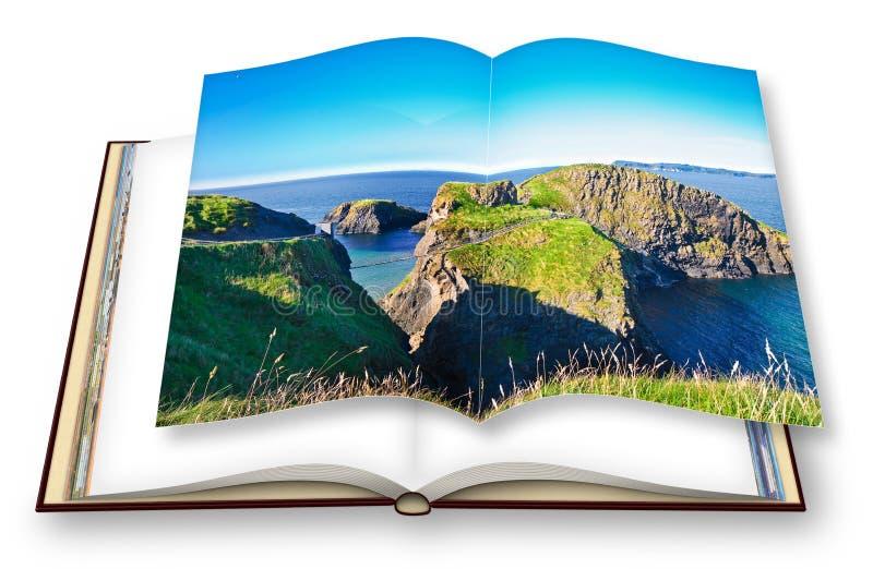 Paisaje irlandés típico con el puente suspendido en los acantilados Irlanda del Norte - Reino Unido - Carrick un Rede - 3D rinden imagen de archivo