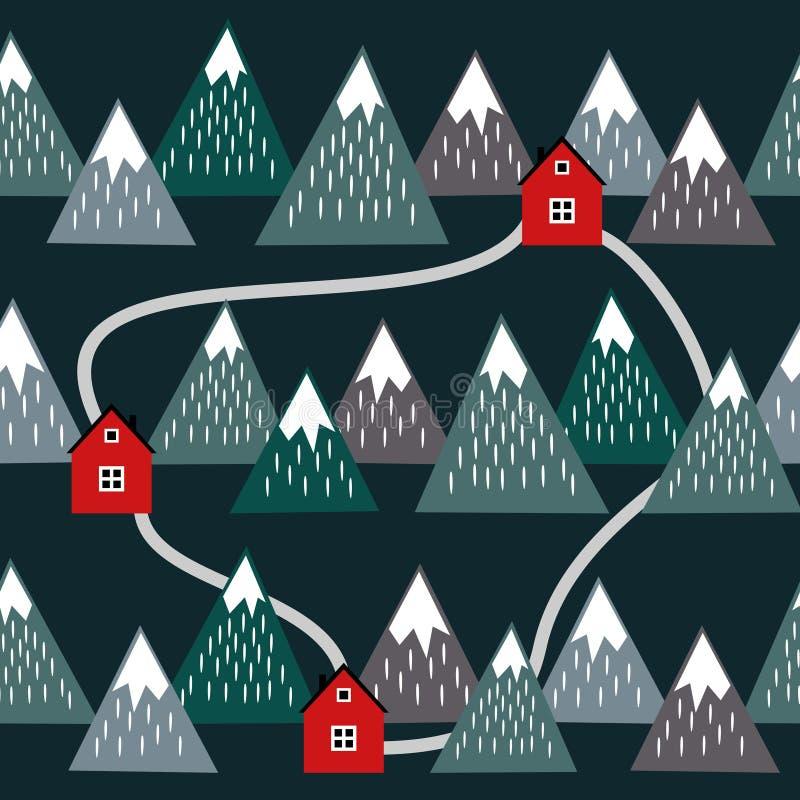 Paisaje islandés lindo con las casas y las montañas stock de ilustración