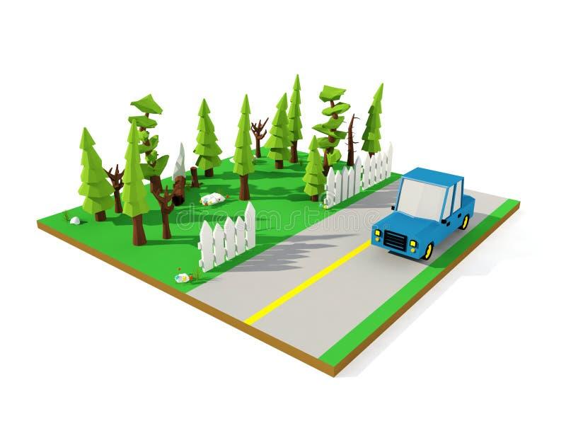 paisaje isométrico 3D, camino suburbano con el coche de la historieta y bosque del pino, polígono bajo stock de ilustración