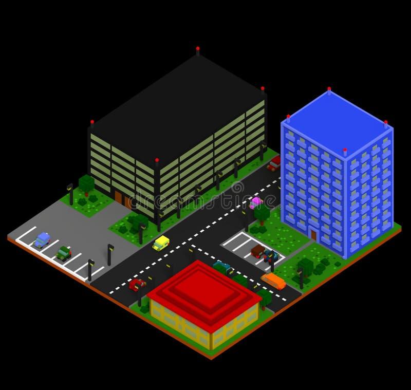 Paisaje isométrico de la ciudad en estilo retro del voxel ilustración del vector