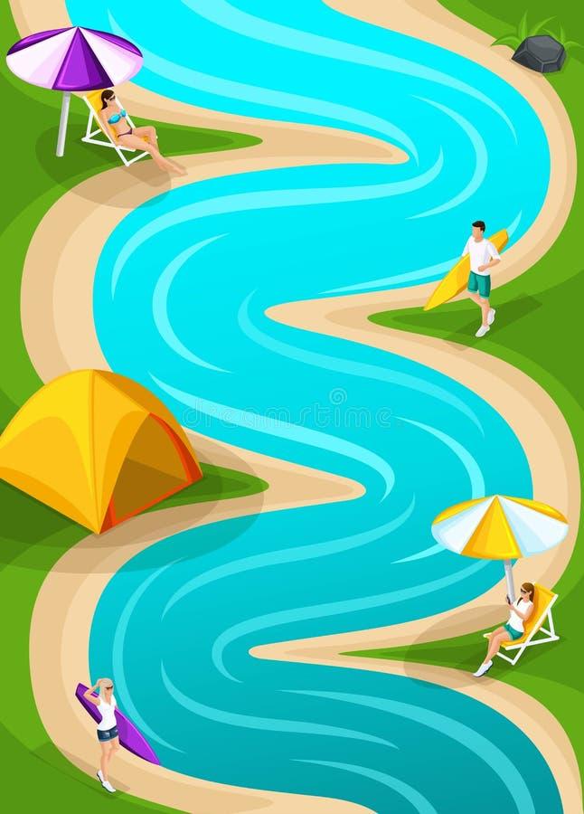 Paisaje isométrico que descansa sobre el corredor del río para el juego, amigos el vacaciones, aire fresco, comida campestre, día ilustración del vector