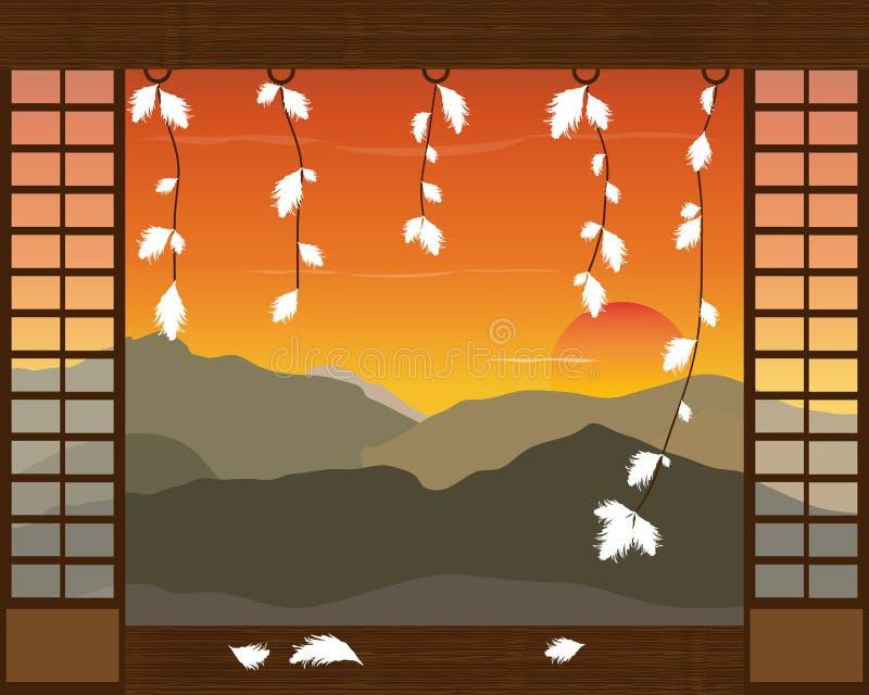Paisaje japonés abstracto de las montañas y de la puesta del sol Ilustración del vector libre illustration