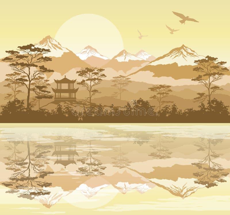 Paisaje japonés con el bosque, el lago y las montañas stock de ilustración