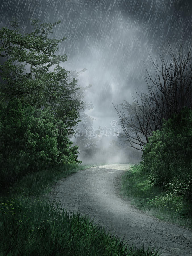 Paisaje lluvioso stock de ilustración