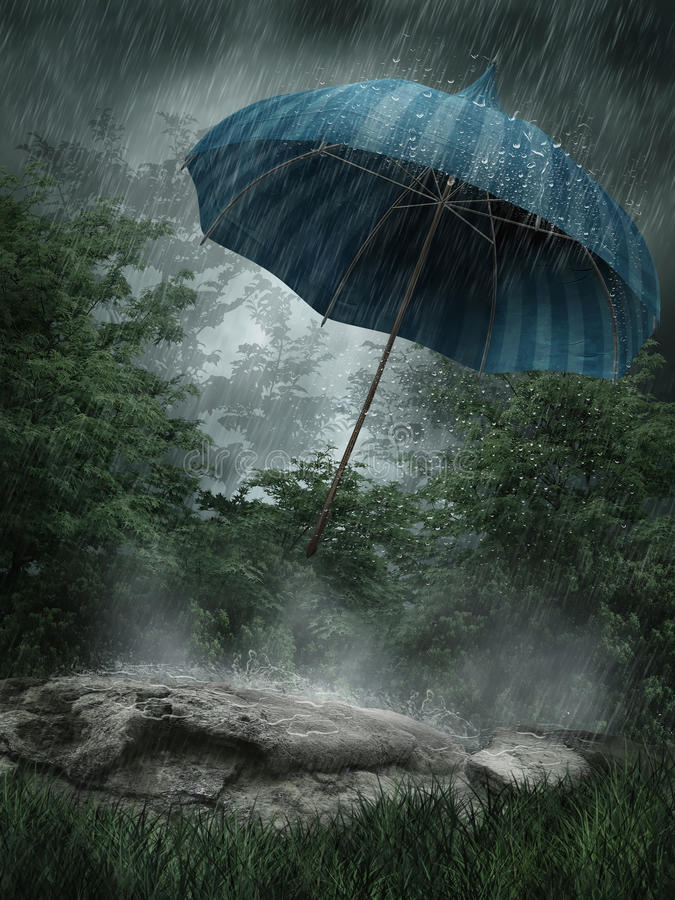 Paisaje lluvioso con el paraguas stock de ilustración