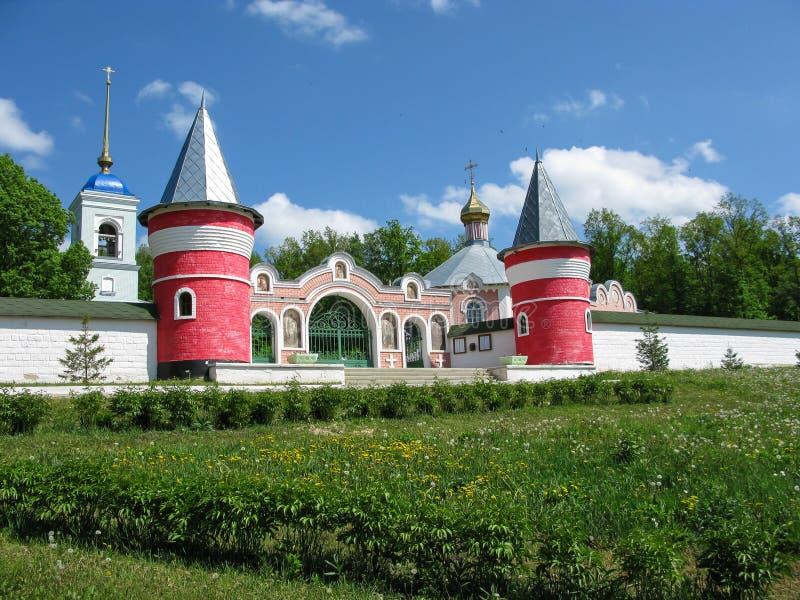 Paisaje mágico con el convento de monjas ruso en el verano Ryazan Iberdsky fotografía de archivo libre de regalías