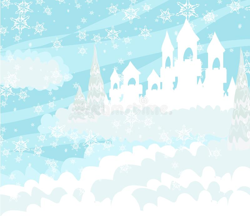 Paisaje mágico del invierno con el castillo stock de ilustración